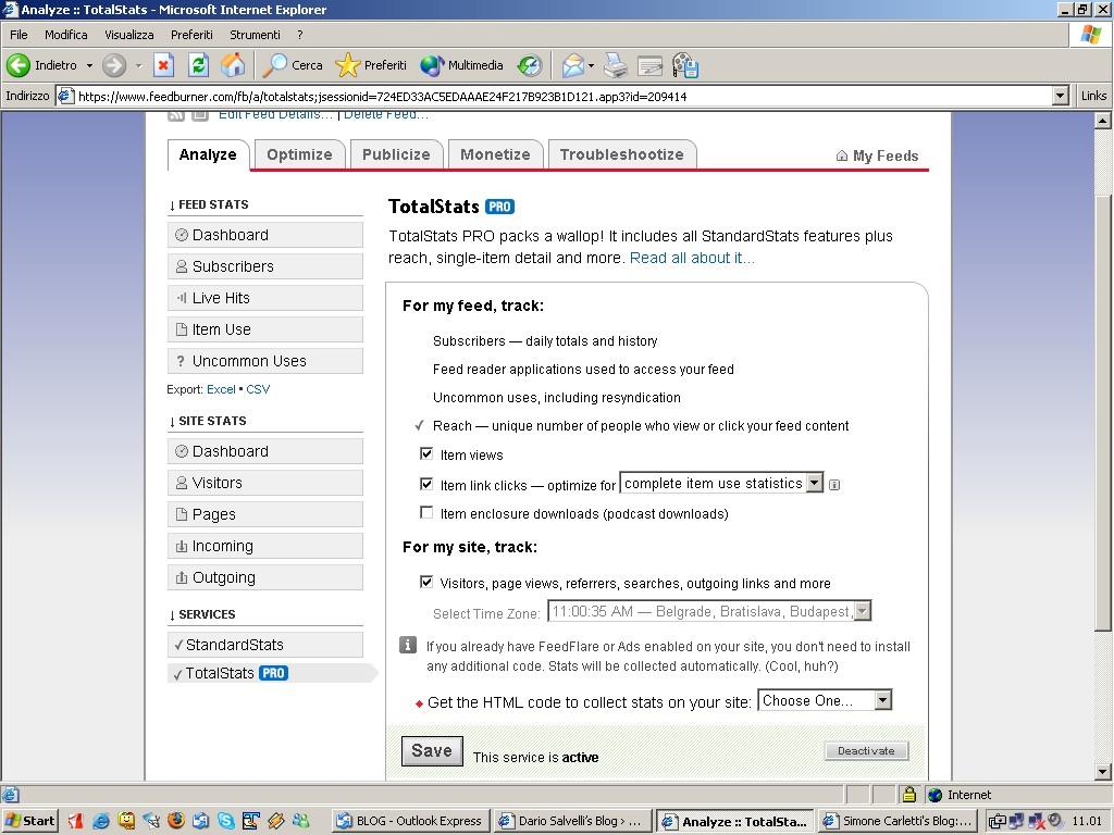 Tutorial Stats Feedburner - www.dariosalvelli.com