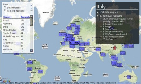 google map italy data removal requests