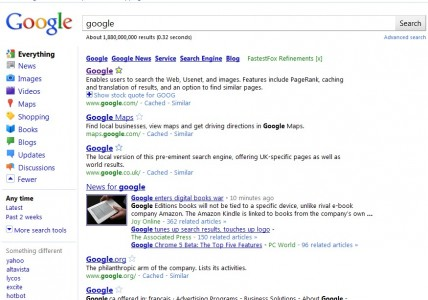 google search results bar redesign 2010