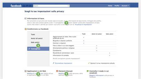 impostazione privacy